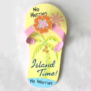 Yellow Flip Flop Island Time Wall Art Wood 60348-TIME