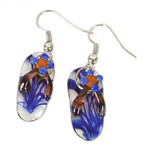 Purple Glass Earrings Flip Flop 60714P