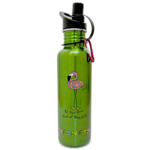 Pink Flamingo Green Steel Water Bottle 741-02
