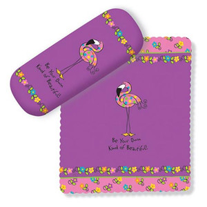 Purple Flamingo Eyeglass Case with Cleaning Cloth 804-07