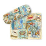 Sea Turtle & Seashells Eyeglass Case with Cleaning Cloth - 804-20