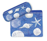 "Sea Shells Eyeglass Case with Cleaning Cloth ""Blue Water Shells""  - 804-89"