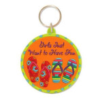 "Flip Flops Key Ring Key Chain ""Girls Just Want to Have Fun"" - 805-96"