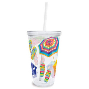 Flip Flops Parade Insulated Plastic Tumbler with Lid & Straw - 814-90
