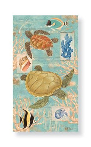 "Sea Turtles and Fish Paper Guest Towels ""Oceanic"" Pack of 30 - 848-23"