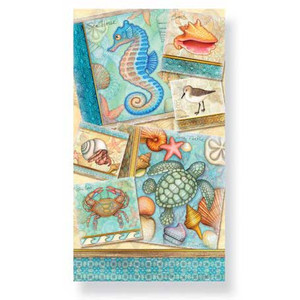 "Sea Turtle & Seahorse Paper Guest Towels Pack of 30 ""By the Shore - 848-44"