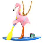 Resin Ornament Flamingo on Paddle Board 855-20