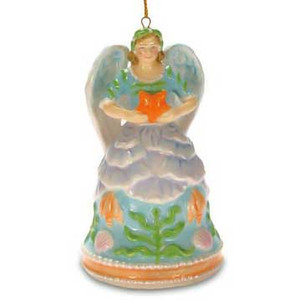 Angel Bell Ornament Shell Ceramic 860-33