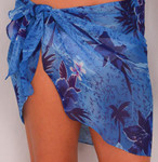 Sarong Short Size Sheer Tropical Flowers - 8602-3917