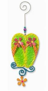 Flip Flops Christmas Metal Ornament - 867-42