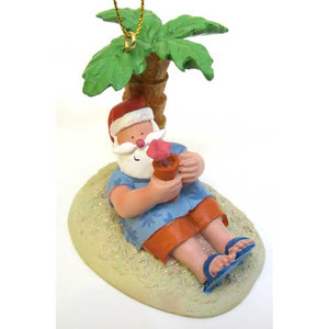 Santa Palm Tree Island Christmas Ornament 871-10