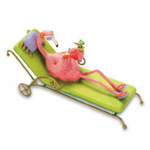 Resin Ornament Pink Flamingo Lounge Chair 871-44