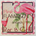 Pink Flamingo on the Beach Stone Magnet 88-136