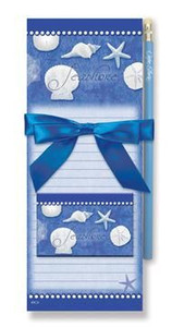 """Sea Shells Magnetic List Pads and Magnet Set """"Blue Water Shells"""" - 91-375"""