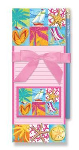 """Beach Theme Magnetic List Pads and Magnet Set """"Beach Patchwork"""" - 91-380"""