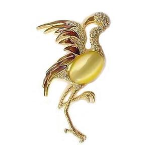 Flamingo Pin with Moonstone Body & Rhinestones - AB5757