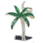 Palm Tree Pin with Enamel & Rhinestones - AB6753