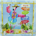 Pink Flamingo Beach Signs Greeting Card - Birthday - BBQ23386