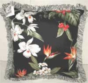 Tropical Flowers  Barkcloth Throw Pillow Black with Fringe - BC18B