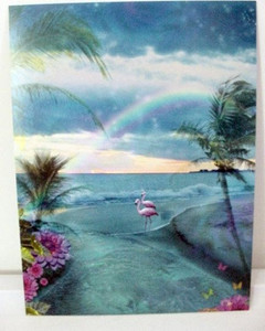 "Pink Flamingo ""Paradise Ocean"" Greeting Card - Birthday - BDG15570"