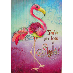 Style Birthday Card Pink Flamingo BDT24114