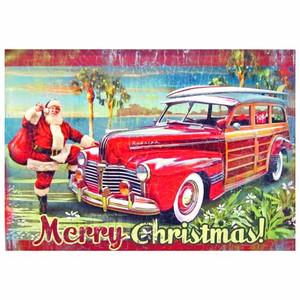 Christmas Cards Woody Santa Car 10 Per Box C73331