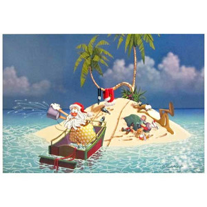 Christmas Cards Santa Island Beach 10 Per Box C73337