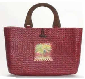 Palm Tree Theme Straw Handbag - Red - CE934E
