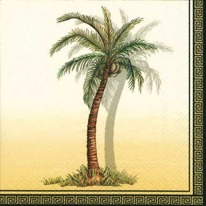 Palm Tree Paper Luncheon Napkins Creme - L99260