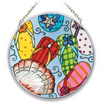 "Flip Flops Art Glass 4.5"" Suncatcher - MC486"