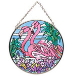 "Pink Flamingo Art Glass 4.5"" Suncatcher MC577R"