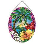 Tropical Island Getaway Scene Art Glass Suncatcher MO143R