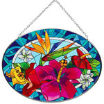 Tropical Flowers Oval Art Glass Suncatcher - MO244