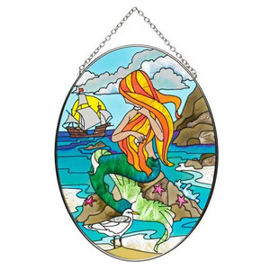 Mermaid Oval Art Glass Suncatcher - MO254