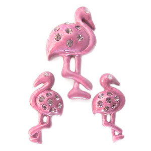 Pink Flamingo Post Earrings and Necklace Pendant Set - N1092