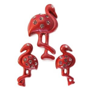 Red Flamingo Post Earrings and Necklace Pendant Set - N1092RED