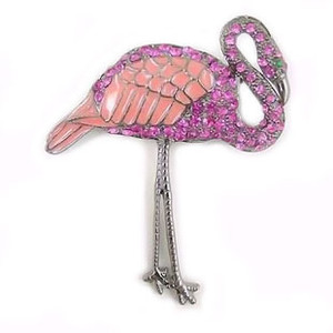 Pink Flamingo Pin with Rhinestones & Enamel - P2277