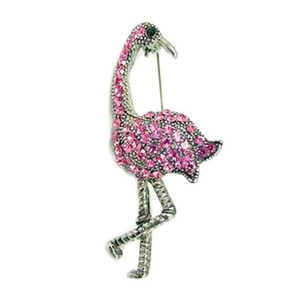 Pink Flamingo Pin with Rhinestones - Silvertone - P3223S