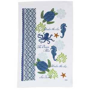 Sea Turtle and Seahorse Kitchen Terry Towel - R2500