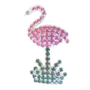 Pink Flamingo Pin All Rhinestones - 1 3/4 inch - RSP2586-B