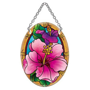 Tropical Hibiscus Flower Oval Art Glass Suncatcher - SO238