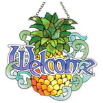 Welcome Pineapple Art Glass Suncatcher SSD1011
