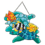 Turtles & Fish Art Glass Suncatcher SSD1025