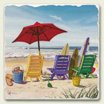 Empty Chairs on Beach Tumbled Tile Trivet TTT-272