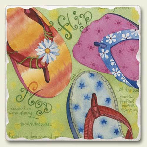 Flip Flops on Beach Tumbled Tile Trivet TTT-537