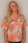 Aloha Blouse  - Peach w White Flowers - 346-3162