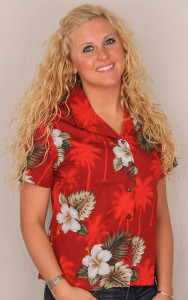 Aloha Blouse Fitted - Red w White Flowers  - 348-2798
