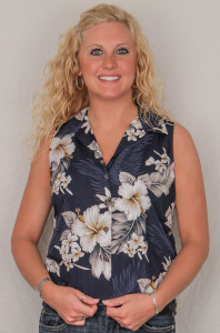 Aloha Fitted Sleeveless Blouse  - Navy w White Flowers  - 342-3162