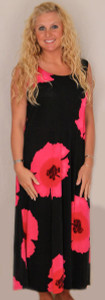 Hibiscus Flower Long Tank Dress - Fuschia Sz Medium Only - DRS852-FL