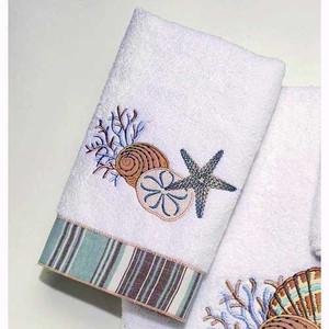 "Starfish ""By the Sea"" Hand Towel White 10972"